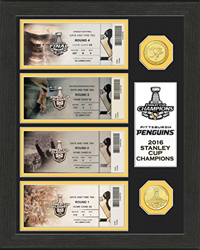 "NHL Pittsburgh Penguins 2016 Stanley Cup Champions Ticket Collection, Gold, 17""X14""X3"""