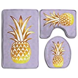 Fallake Bath Rug Set, Hawaii Pineapple Purple Skidproof Flannel Contour Rugs, Antibacterial Toilet Cover Mat For Men Women Kids, Bathroom Rugs, Bathroom Accessories