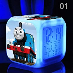 The Thomas Train and His Lovely Friends Digital Alarm Desktop Clock with 7 Changing LED Clock for Kids (Style 1)