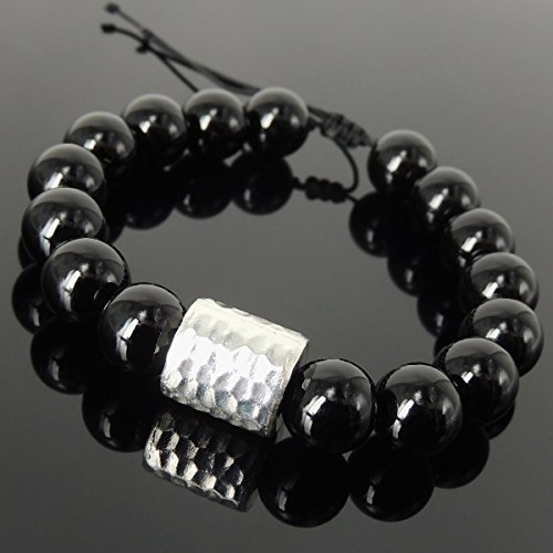 Faceted Barrel - Handmade Braided Soothing Protection Bracelet for Men's Women's Healing Awareness with Bright Black Onyx 12mm Gemstone Beads, Adjustable Drawstring, & Genuine 925 Sterling Silver Faceted Barrel Bead