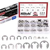 Hilitchi 380-Pcs [14-Size] E-Clip Circlip External Retaining Ring Assortment Set - 304 Stainless Steel