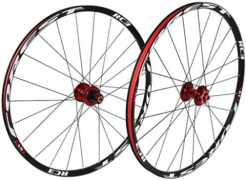 YSHUAI Juego de ruedas de bicicleta 26 27,5 pulgadas MTB delantera trasera doble pared llanta 7 palin rodamiento liberación rápida 8-11 velocidades freno de disco 24H, color Negro-A, tamaño 26er: Amazon.es: Deportes