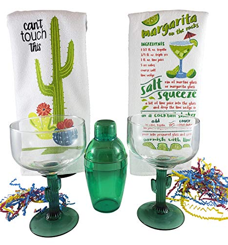 (Cinco de Mayo Cactus Margarita Glass And Cocktail Shaker Gift Set Includes Set of 2 Cactus Margarita Glasses, Green Cocktail Shaker Kit, 2 Margarita Recipe Kitchen Towels With Additional Bonus Recipe)