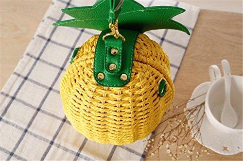 Borsa di paglia della borsa della traversa dell'ananas del sacchetto della borsa tessuta Donne di modo Tote Handmade del tessuto semplice della tessile
