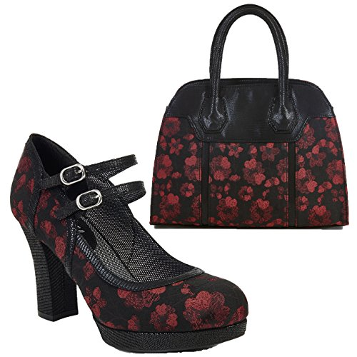 Ruby Shoo Women's Laura Chunky Mary Jane Bar Shoes & Matching Cancun Bag Black Red