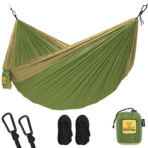 Wise Owl Outfitters Hammock for Camping Single & Double Hammocks - Top Rated Best Quality Gear For The Outdoors Backpacking Survival or Travel - Portable Lightweight Parachute Nylon SO Green & Khaki