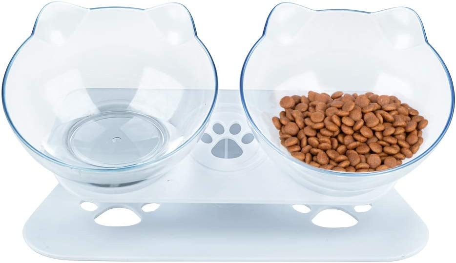 Pantula Cat Bowls - Tilted cat Food Bowls - Raised cat Food Bowl Pet Double 15° Slanted cat Bowls Elevated with Non-Slip Rubber Base Stand for cat Dish(Clear)…