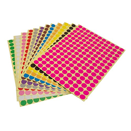 LJY Round Dot Stickers Color Coding Labels, 12 Different Assorted Colors Dot Labels, 12 Sheets - Round Color