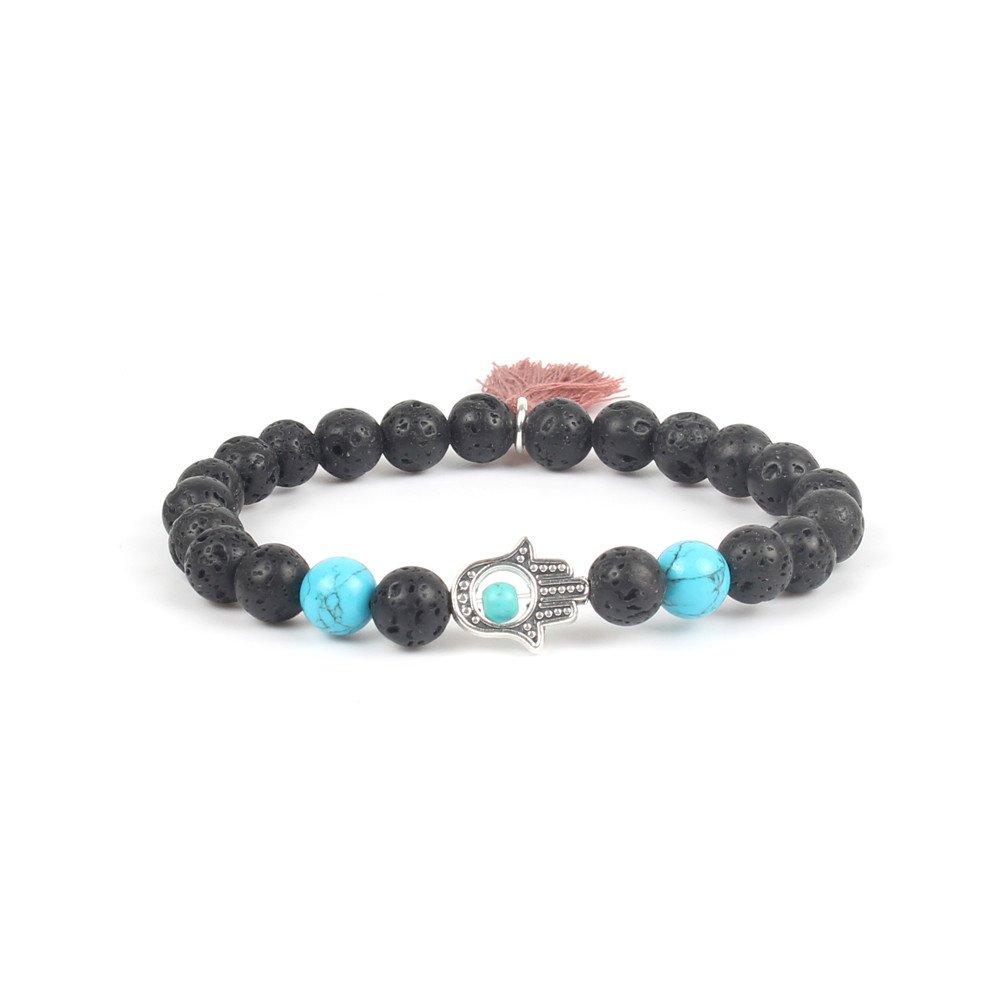 Shinus Bracelets Mens Women Chakra Hamsa Hand of Fatima Lava Stone Charm Meditation Jewelry Gift Fashion