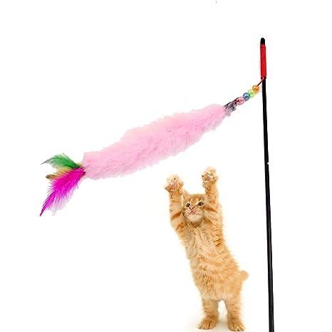 Ogquaton Juguete para Gatos Juguete para Gatos Interactivo Varita para Gatos Juguete para Volar Flying Feather