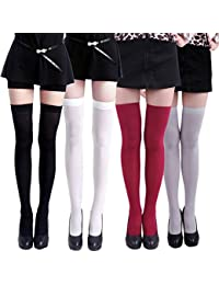 Women's 4 Pack Stockings Solid Color Over The Knee Nylon Thigh High Tights