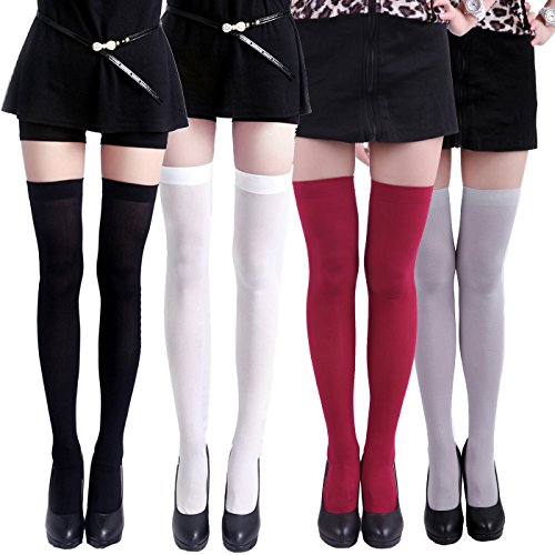 Solid Thigh High Sock (HDE Women's 4 Pack Stockings Solid Color Over The Knee Nylon Thigh High Tights)