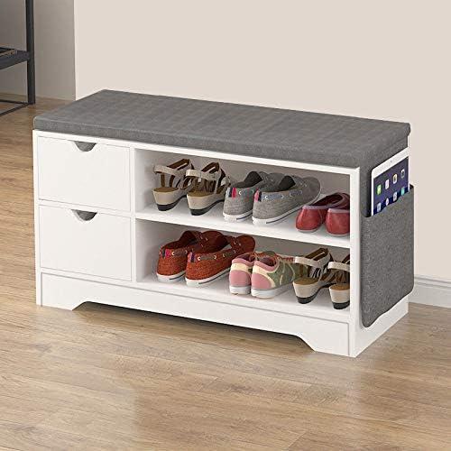 Vanimeu White Shoe Bench Ottoman Storage Unit Hallway Bench Seat Furniture (2 Drawers Shoe Bench)