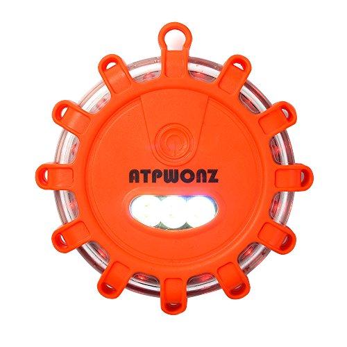 ATPWONZ 16 LED Road Flare Red Safety Warning Light Emergency Flashing Lights with Magnetic Base