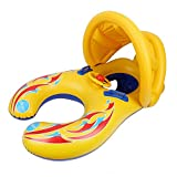 Mother and Baby Pool Float Double Person Swimming Ring with Removable Canopy and Storage Bag
