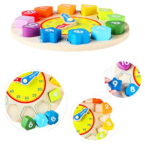 Joqutoys Wooden Shape Sorting Clock Puzzle Teaching Time Number Blocks Educational Toy for Kids by Joqutoys (Image #5)