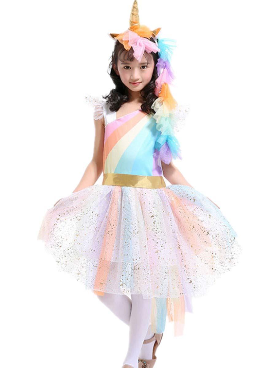 FamyFirst Rainbow Unicorn Dress up Costume, Halloween Girl's Rainbow Unicorn Costume with Wing and Headband Unicorn Outfit Dress up Tutu Party Dress (S)
