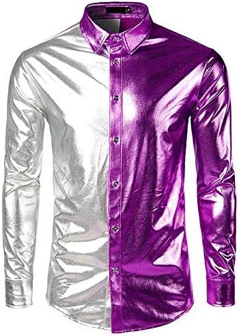 SXZG Camisa de Manga Larga con Estampado de Color Dorado Y Dorado En Otoño para Hombre Camisa de Manga Larga En Contraste para Hombre: Amazon.es: Ropa y accesorios