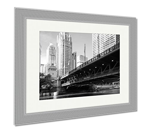 Ashley Framed Prints The Iconic Dusable Bridge And Michigan Ave In Chicago Illinois USA On A Hot, Wall Art Home Decoration, Black/White, 34x40 (frame size), Silver Frame, - Michigan Tower Water Ave