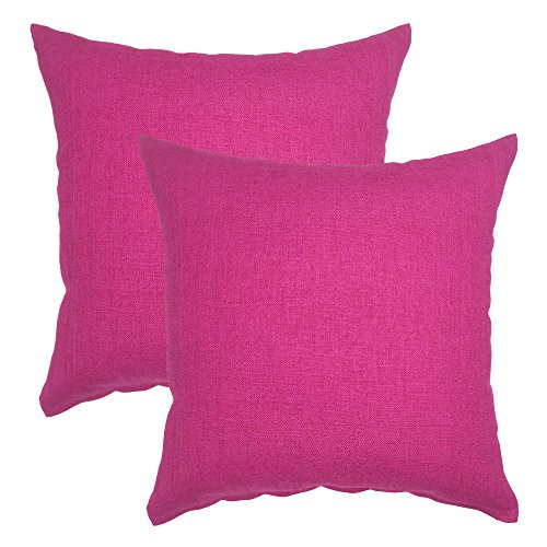 YOUR SMILE Pure Square Decorative Throw Pillows Case Cushion Covers Shell Cotton Linen Blend 18 X 18 Inches, Pack of 2 -