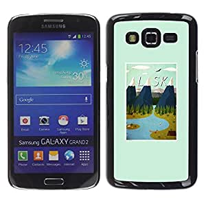 FECELL CITY // Duro Aluminio Pegatina PC Caso decorativo Funda Carcasa de Protección para Samsung Galaxy Grand 2 SM-G7102 SM-G7105 // Winter Mountains Poster Usa State
