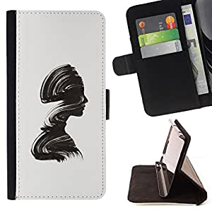 "For Sony Xperia M4 Aqua,S-type Minimalista Cepillo Alivio Mujer"" - Dibujo PU billetera de cuero Funda Case Caso de la piel de la bolsa protectora"