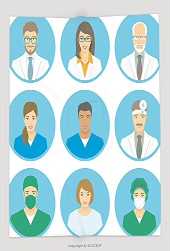 Custom Throw Blanket Medical Clinic Staff Flat Avatars Of Doctors, Nurses, Surgeon, Assistant, Patient. Vector Round Portraits, Account Profile Pictures, Male And Female and Comfortable