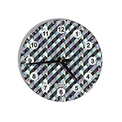 TooLoud Plaid Pattern AOP 8 Round Wall Clock with Numbers All Over Print