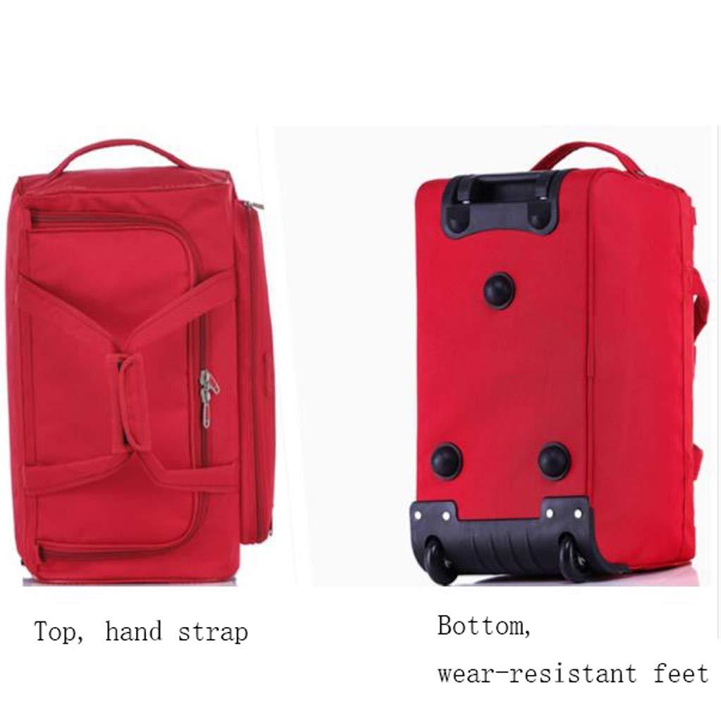 Color : Black, Size : 45L Trolley Case Handbag Travel bag SunHai Trolley Bag Waterproof Duffel Bag Foldable 4 Different Large Capacity Oxford Tarpaulin Rubber Mute Wheel