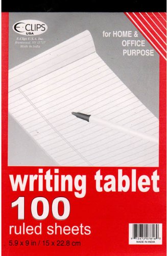 Writing Tablet - Ruled paper - 100 sheets- 6'' x 9'' 48 pcs sku# 1277027MA by DDI