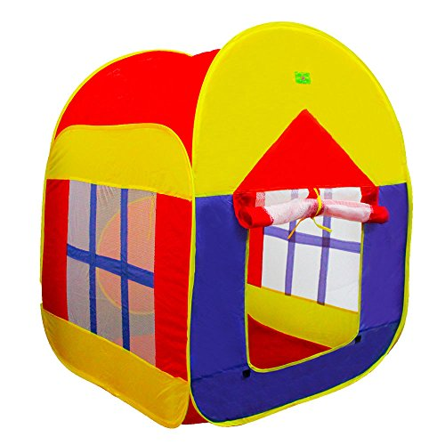 KAIL Foldable Pop Up Play Tent with 2 Doors and 2 Mesh Windows Cottage Play House Beach Shelter Garden Grassland Tent