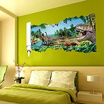 Zooarts Dinosaur Cracked Wall Removable Vinyl Mural Art Wall - Wall decals carscartoon cars break through wall art mural decor sticker cracked