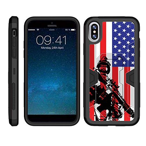 TurtleArmor | Compatible for Apple iPhone X Case | Apple iPhone 10 Case [Clip Caliber] Premium Heavy Duty Armor Kickstand Impact Holster Clip Military War Camo Design - American Soldier (Us Army Iphone 4 Case)