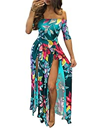 Women Plus Size Off Shoulder Fit And Flare Skater Slit Night Club Maxi Dress