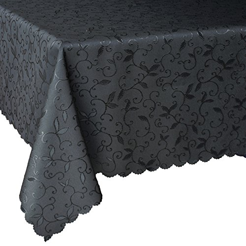 """Turkish Rectangle Black Halloween Tablecloth Polyester Cover Stain Resistant Wrinkle Free Dust-Proof Square Round Table Linen Thanksgiving Christmas New Year Eve Gift (Black, Rectangle 60""""x104"""")"""