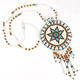La vivia CREAM TURQUOISE BLUE STAR MEDALLION BEADED NECKLACE EARRINGS SET S-51-SB-7