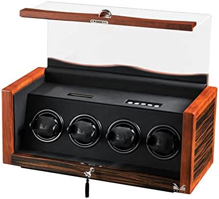 Men's Rustic Ebony Rosewood Wooden Four Watch Winder and Black Leather Interior