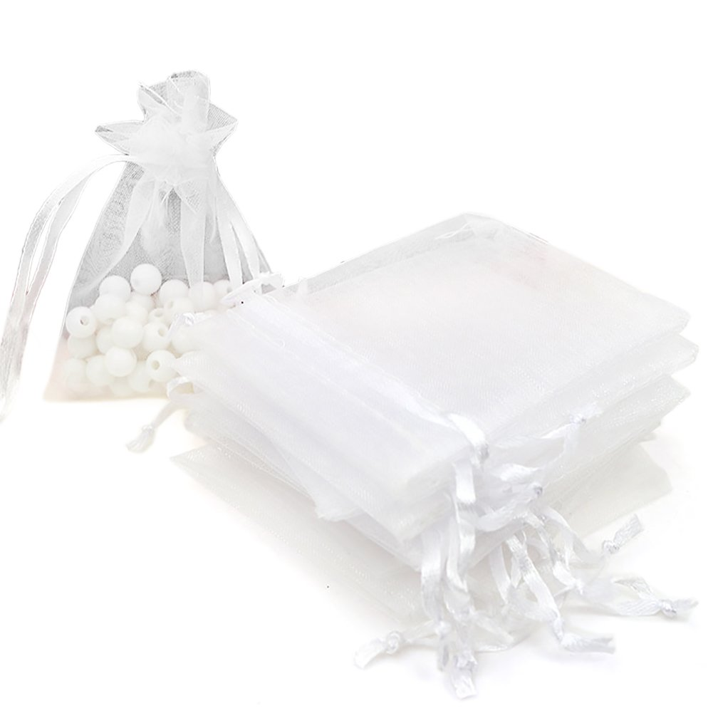 Aspire 1000 Pieces Organza Drawstring Pouches, 3 1/2'' x 4 3/4'' Jewlery Candy Gift Bag-White