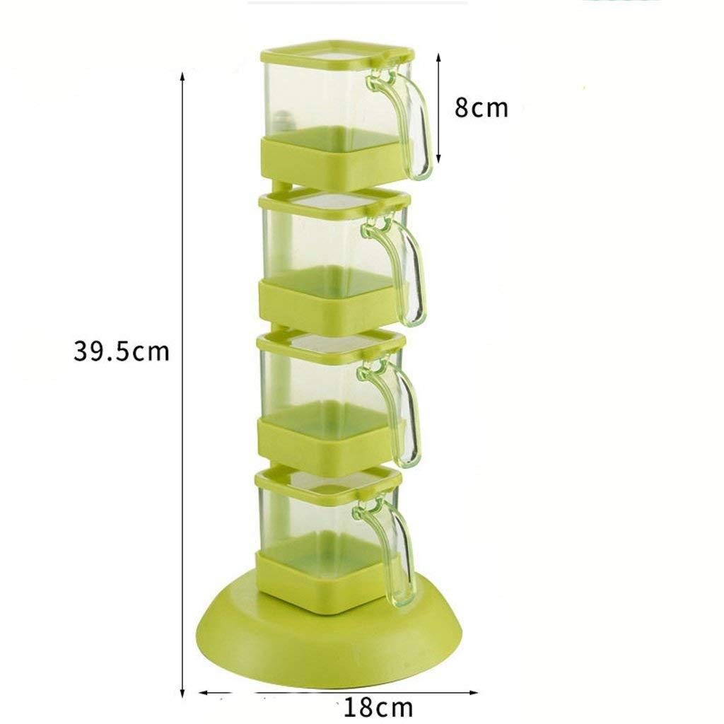 Barato FuweiEncore De pie en la Caja de condimentos se Puede Girar Caja de condimentos Suministros de Cocina creativos Utensilios Castor Accesorios de la Plataforma del Tanque de condimento (Color: Verde)