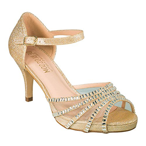 Women's Sparkle Open Toe Ankle Strap Dress Shoe Nude 9 (Shoe Shimmer Prom Ladies Evening)
