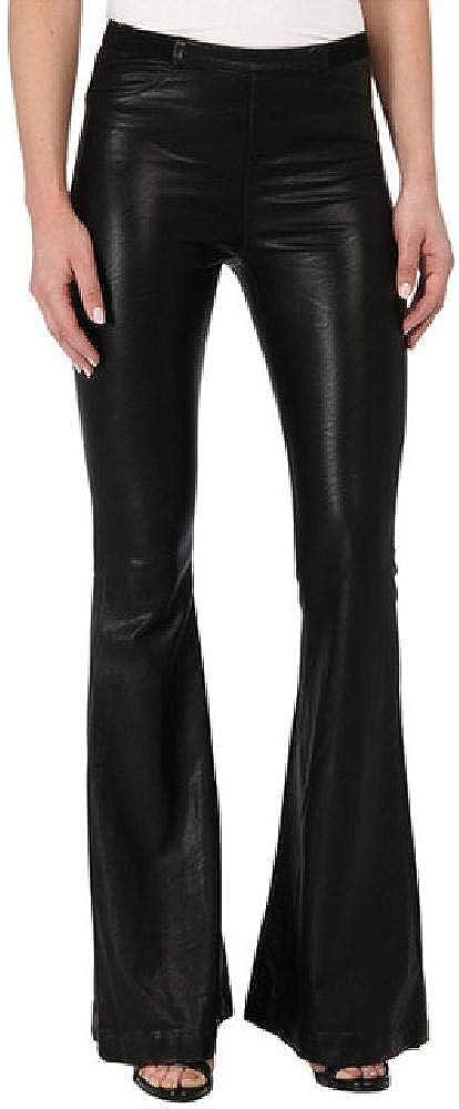 Wrap Wrap para Mujer Pantalones Acampanados de Cuero Moda Cintura elástica Flare2020 Otoño Pantalones de Pierna Ancha de Cuero sintético