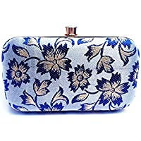AIMIA Handicraft Party Wear Hand Embroidered Box Clutch Bag Purse For Bridal, Casual, Party, Wedding