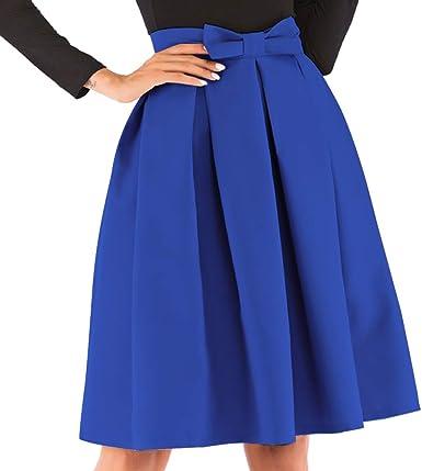 kefirlily Mujer Midi Falda Plisada Cintura Alta Vintage Falda A ...