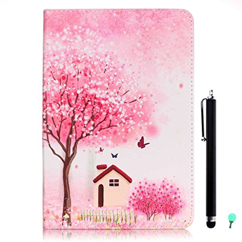 iPad Air/Air2 Case, iPad 5/6 Case, fengus Ultra Slim PU Leather Cover Stand Flip Case Cover with Cute Pattern Design Back Shell for Apple iPad Air/iPad Air 2+Stylus+Dust plug-Sakura House