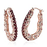 Rhodolite Garnet, Multi Gemstone Rose Gold Plated Silver Hoop Earrings For Women 4.4 cttw.