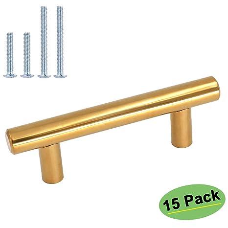 Attirant 3in Gold Drawer Pulls Brass Cabinet Handles 15 Pack   Homdiy HD201PB Gold  Cabinet Door Handles