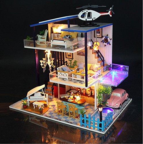 WYD DIY Blue Sea Romance Loft Doll House Handmade Wooden Dollhouse with Furniture Kits LED Light Creative Gift (Doll Furniture Handmade)