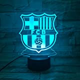 LE3D 3D Optical Illusion Desk Lamp/3D Optical Illusion Night Light, 7 Color LED 3D Lamp, FC Barcelona 3D LED For Kids and Adults, Futbol Club Barcelona Light Up