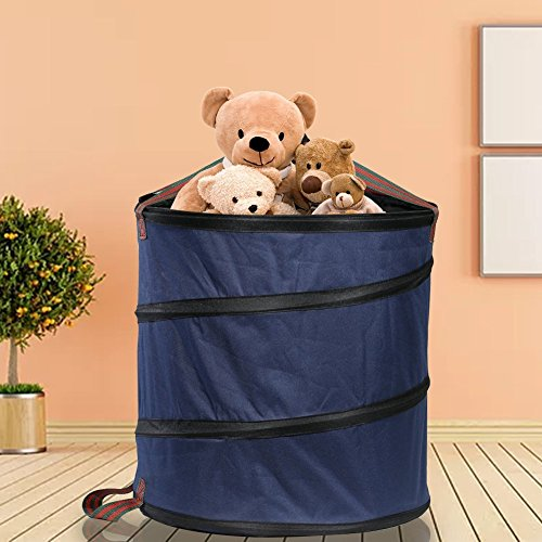 Mokylor 23 Gallon Pop Up Garden Waste Bag, Camping Trash Garbage Can, Reusable Gardening Lawn and Leaf Container for the Trash Waste Laundry Compost Refuse, Dark Blue by Mokylor (Image #7)