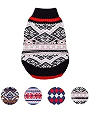 Blueberry Pet Nordic Pattern Inspired Fair Isle Black and White Snowflakes Dog Sweater, Back Length 30cm, Pack of 1 Clothes for Dogs